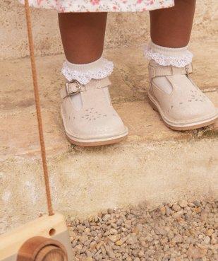 Chaussures de marche bébé fille avec dessus cuir à pailettes vue6 - GEMO(BEBE DEBT) - GEMO
