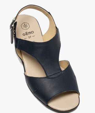 Sandales femme confort en cuir avec petit talon vue5 - GEMO (CONFORT) - GEMO
