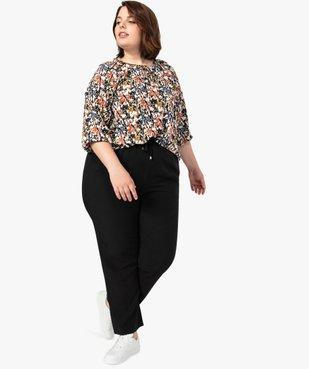 Pantalon femme uni large et fluide à taille élastiquée vue5 - GEMO (G TAILLE) - GEMO
