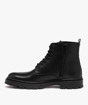 Boots homme dessus cuir uni et semelle crantée vue3 - GEMO(URBAIN) - GEMO