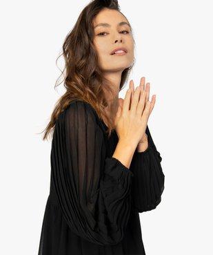 Robe femme en voile avec manches plissées transparentes vue2 - GEMO(FEMME PAP) - GEMO