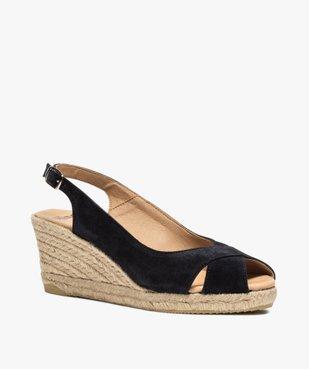Sandales femme à talon compensé et dessus cuir velours vue2 - GEMO(URBAIN) - GEMO