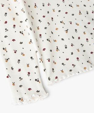 Tee-shirt fille en maille côtelée à motifs fleuris vue4 - GEMO C4G FILLE - GEMO