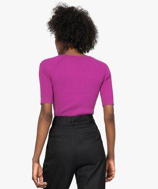 Pull femme à manches courtes en maille côtelée vue3 - GEMO(FEMME PAP) - GEMO
