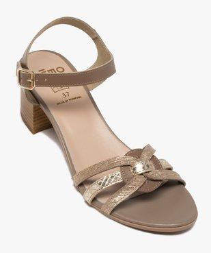 Sandales femme à talon carré et brides métallisées vue5 - GEMO(URBAIN) - GEMO