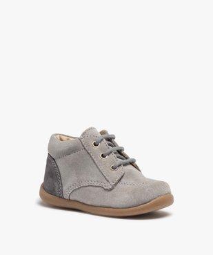 Chaussures de marche bébé en cuir bicolores vue2 - GEMO(BEBE DEBT) - GEMO