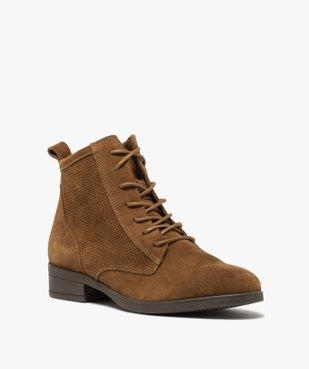 Boots femme à talon plat dessus cuir style godillots vue2 - GEMO (CASUAL) - GEMO