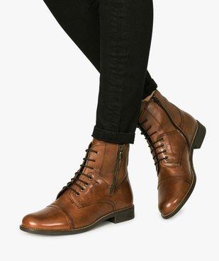Bottines femme dessus cuir lacées et zippées look preppy vue1 - GEMO (CASUAL) - GEMO
