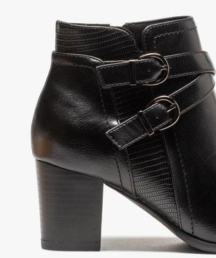 Boots femme unis à talon carré et brides décoratives vue6 - GEMO(URBAIN) - GEMO