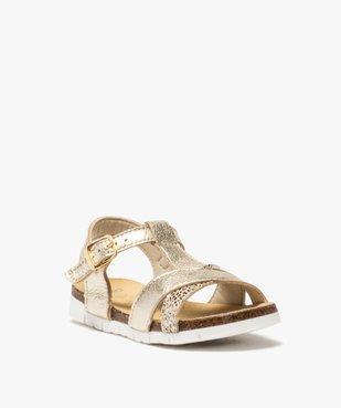 Sandales fille à semelle liège et brides métallisées vue2 - GEMO (ENFANT) - GEMO