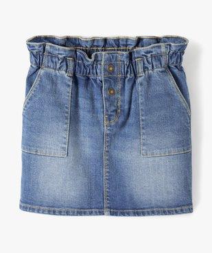 Jupe fille en jean avec taille froncée vue1 - GEMO C4G FILLE - GEMO