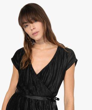 Robe femme en maille gaufrée avec col cache-cœur  vue2 - GEMO(FEMME PAP) - GEMO