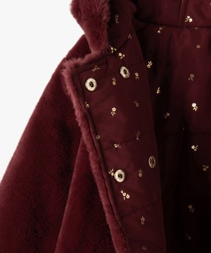 Manteau fille forme trapèze réversible matelassé/maille peluche vue3 - GEMO (ENFANT) - GEMO