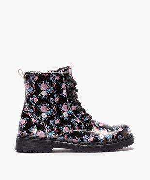Boots fille à lacets et zip imprimées fleurs vue1 - GEMO (ENFANT) - GEMO