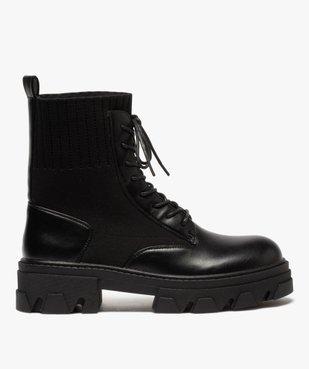 Boots femme unies à semelle crantée et col en maille vue1 - GEMO (CASUAL) - GEMO