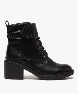 Boots femme unies à talon carré et brides à clous vue1 - GEMO(URBAIN) - GEMO