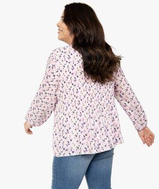 Blouse femme en voile plissé à motifs vue3 - GEMO (G TAILLE) - GEMO