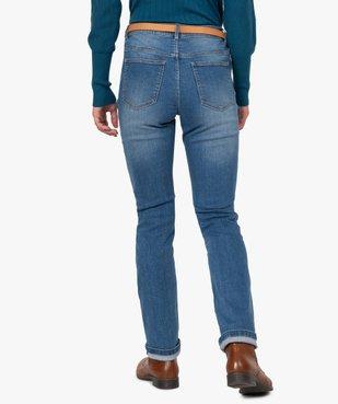 Jean femme regular taille normale délavé avec ceinture vue3 - GEMO(FEMME PAP) - GEMO