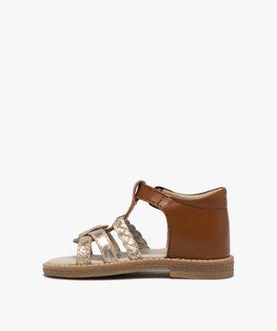 Sandales bébé fille en cuir talon fermé et brides métallisées vue3 - GEMO(BEBE DEBT) - GEMO