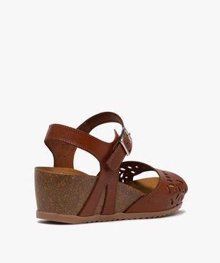 Sandales femme à talon compensé et bride en cuir ajouré vue4 - GEMO(URBAIN) - GEMO