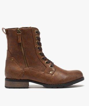 Boots femme zippées à talon plat et tige fantaisie vue1 - GEMO (CASUAL) - GEMO