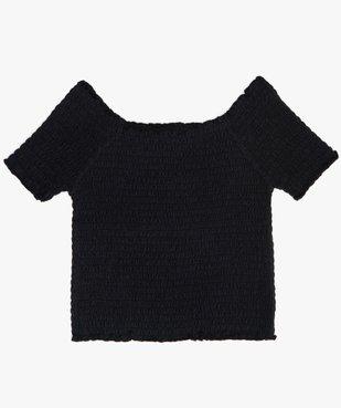 Tee-shirt court fille en smocks à manches courtes et col Bardot vue1 - GEMO (JUNIOR) - GEMO
