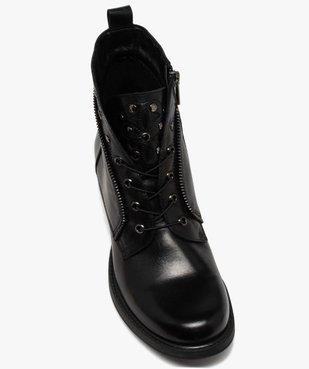 Boots femme unies à talon plat style godillots dessus cuir vue5 - GEMO (CASUAL) - GEMO
