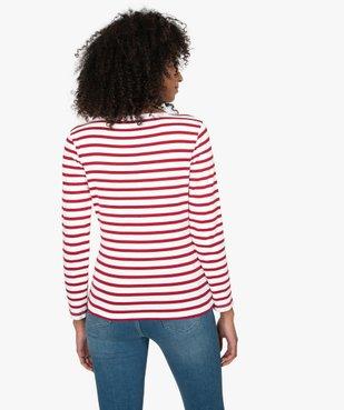 Tee-shirt femme rayé à manches longues vue3 - GEMO(FEMME PAP) - GEMO