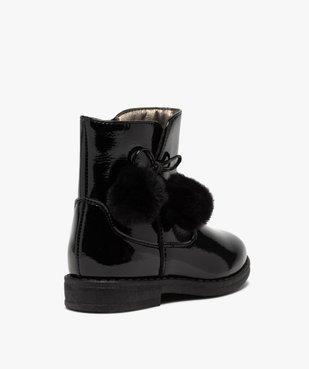 Boots fille vernies avec pompons sur le côté vue4 - GEMO (ENFANT) - GEMO