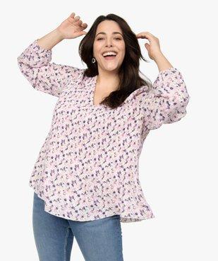 Blouse femme en voile plissé à motifs vue1 - GEMO (G TAILLE) - GEMO