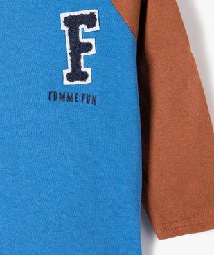 Tee-shirt bébé garçon à manches longues contrastantes vue2 - GEMO(BEBE DEBT) - GEMO