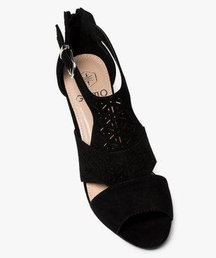 Sandales femme à talon compensé et dessus ajouré vue5 - GEMO(URBAIN) - GEMO