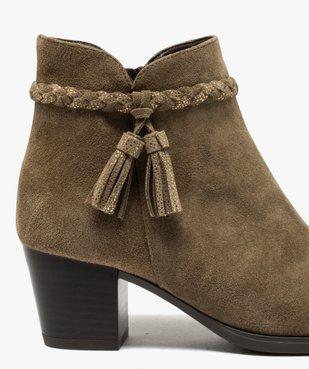 Boots femme unies à talon dessus cuir et bride fantaisie vue1 - GEMO(URBAIN) - GEMO