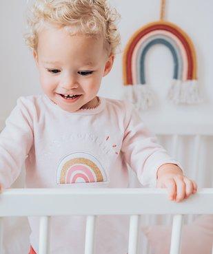 Pyjama bébé fille en velours et motif arc-en-ciel vue6 - GEMO(BB COUCHE) - GEMO
