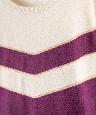 Pull fille bicolore avec liserés pailletés vue2 - GEMO (ENFANT) - GEMO