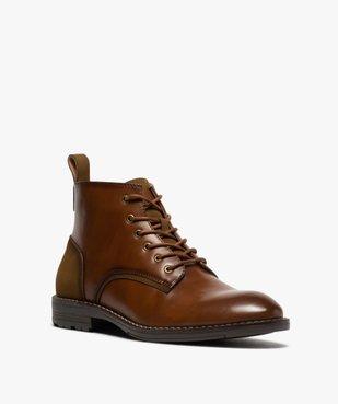 Boots homme unis à lacets et zip avec couture débordante vue2 - GEMO (CASUAL) - GEMO