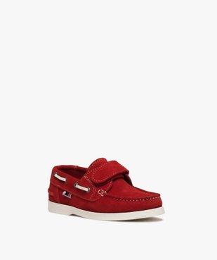 Chaussures bateau garçon dessus cuir à scratch vue2 - GEMO (ENFANT) - GEMO