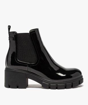Boots femme à talon carré et semelle crantée dessus verni vue1 - GEMO(URBAIN) - GEMO