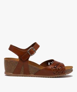 Sandales femme à talon compensé et bride en cuir ajouré vue1 - GEMO(URBAIN) - GEMO