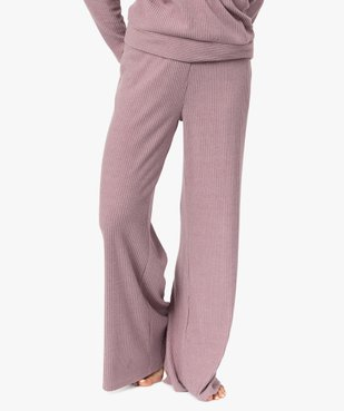Bas de pyjama femme large en maille côtelée extra douce vue1 - GEMO(HOMWR FEM) - GEMO
