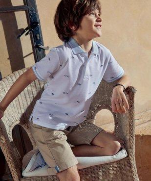 Polo garçon à manches courtes avec petits motifs vue6 - GEMO (ENFANT) - GEMO