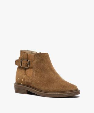 Boots fille style chelsea dessus cuir retourné motif étoiles vue2 - GEMO (ENFANT) - GEMO
