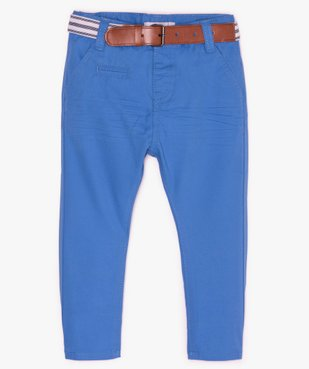 Pantalon bébé garçon chino avec ceinture rayée vue1 - GEMO(BEBE DEBT) - GEMO