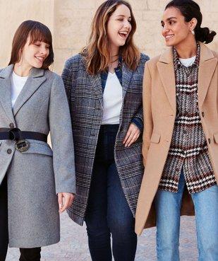 Manteau femme mi-long à col tailleur vue6 - GEMO(FEMME PAP) - GEMO