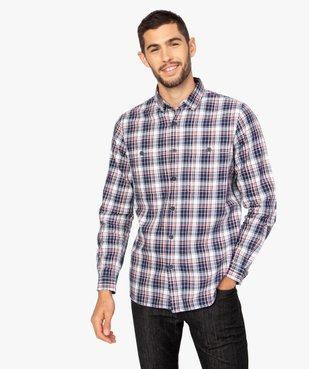 Chemise homme à carreaux et poches poitrine vue1 - GEMO (HOMME) - GEMO