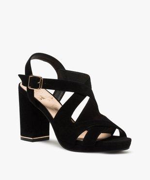 Sandales femme en suédine unie et talon carré vue2 - GEMO(URBAIN) - GEMO