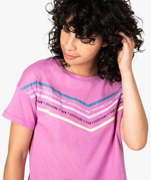 Tee-shirt femme avec inscriptions et bandes colorées vue2 - FOLLOW ME - GEMO