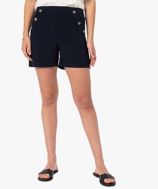 Short femme ample taille haute à pont boutonné vue1 - GEMO(FEMME PAP) - GEMO