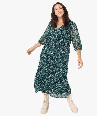 Robe femme longue imprimée à manches 3/4 vue1 - GEMO (G TAILLE) - GEMO