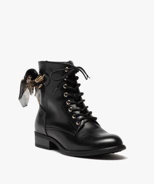 Boots femme à talon plat unis avec ruban fantaisie vue2 - GEMO (CASUAL) - GEMO